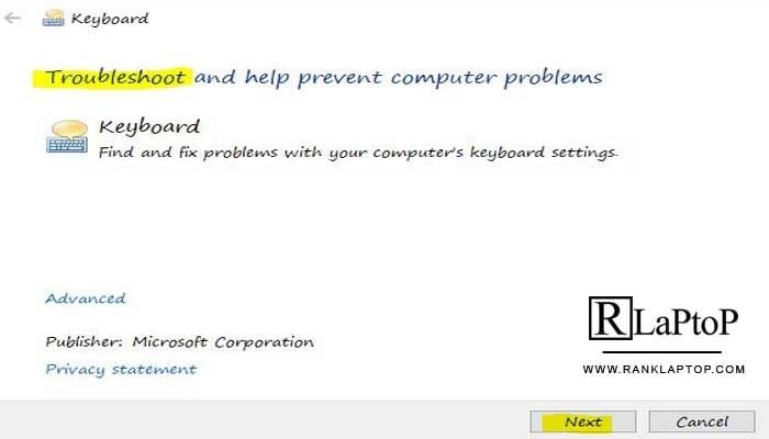 Run the keyboard troubleshooter