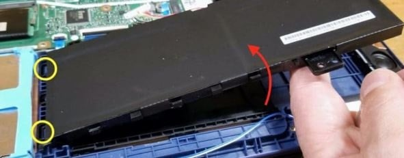 Disconnecting and removing the battery step 8