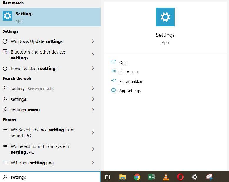 W1 Sellect setting from start menu