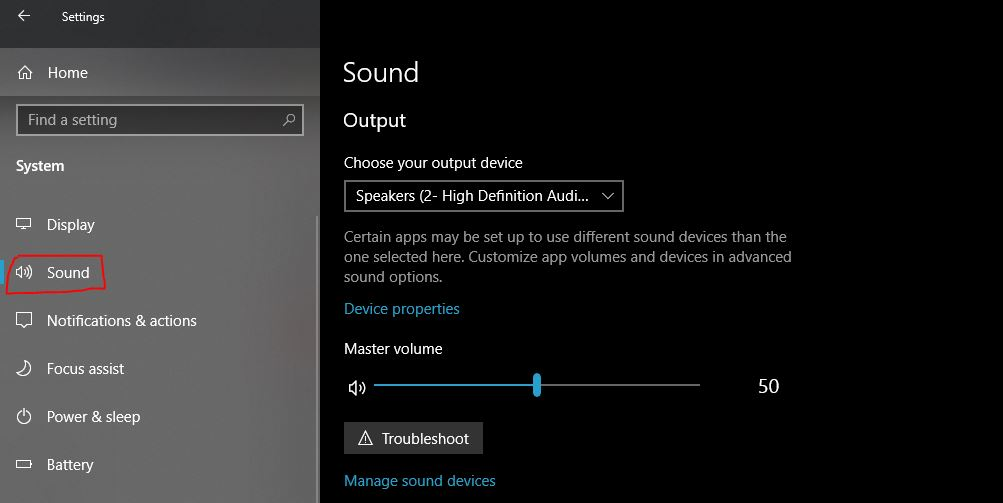 W3 Select Sound from system setting