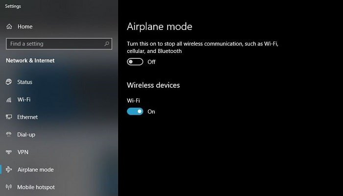 howto turn off airplane mode on dell laptop windows 10